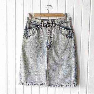 Vintage 90s Acid Wash Denim Pencil Skirt G1872